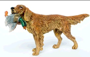 Irish Setter with Duck -Hunting And Horses