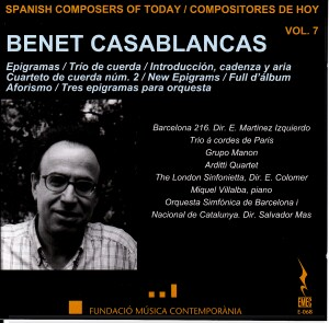 Spanish Composers of Today Vol. 7 - Benet Casablancas-Orchestra