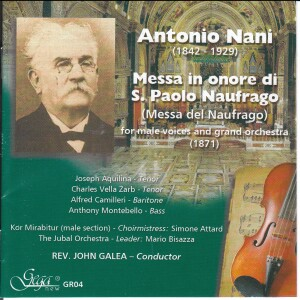 Antonio Nani - Messa in onore di S. Paolo Nafrago (Messa del Naufrago) -Voices and Orchestra-Vocal Collection