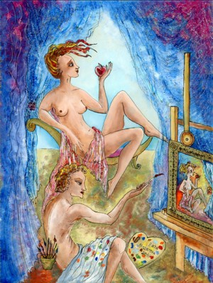 The Artist and his Muse - 24 x 18 cm - Kata Musatova ---- PAINTINGS ---