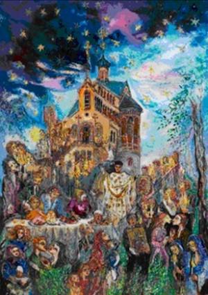 Russian Ortodox Easter in Marienbad - N. Musatova - Picture- 24 x 18 cm ---- PAINTINGS ---