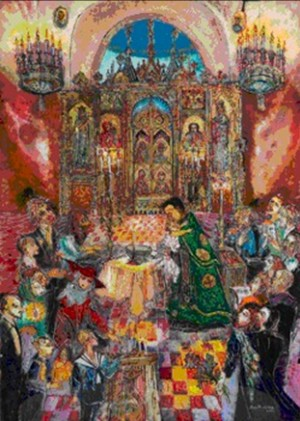 An Orthodox Baptism in Marienbad - N.Musatova - Picture - 24 x 18 cm ---- PAINTINGS ---