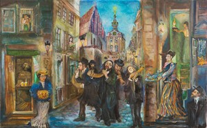 Rosh Hashanah - The Jewish New Year in Prague, Jewish Town - N. Musatova - Magnet 5,5 x 9 cm - Canvas on carton-Magnet---- SOUVENIRS ---
