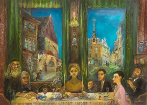 Seder in Prague - Jewish Town - N. Musatova - Magnet 50 x 70 mm-Magnet---- SOUVENIRS ---