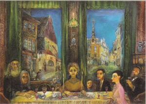 Seder in Prague - Jewish Town - N.Musatova - Paper simulating a canvas, Picture - 15 x 21 cm-Reproduction Picture---- SOUVENIRS ---