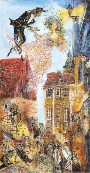 Jewish weddings in the Old Jewish city of Prague - N. Musatova -  Magnet 110 x 60 mm -Magnet---- SOUVENIRS ---