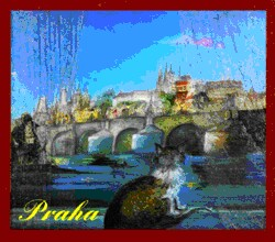 Prague - Cat on the window, the Charles Bridge - N.Musatova - Magnet - 60 x 70 mm -Magnet---- SOUVENIRS ---