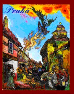 Prague -Golden Lane - N. Musatova - Magnet - 75  x  60 mm-Magnet---- SOUVENIRS ---