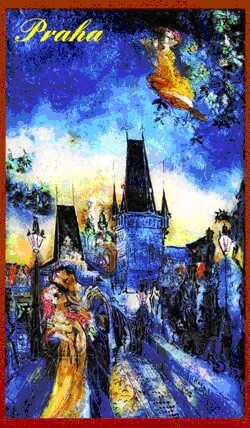 Amorous couple on the Charles Bridge - N. Musatova - Magnet - 95 x 60 mm-Magnet---- SOUVENIRS ---