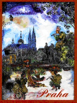 Artists in the Garden of Prague Castle - N. Musatova - Magnet - 75 x 60 mm-Magnet---- SOUVENIRS ---