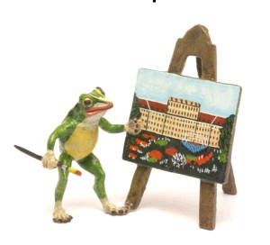 Frog with Painting -Frogs---- VIENNA BRONZE ---